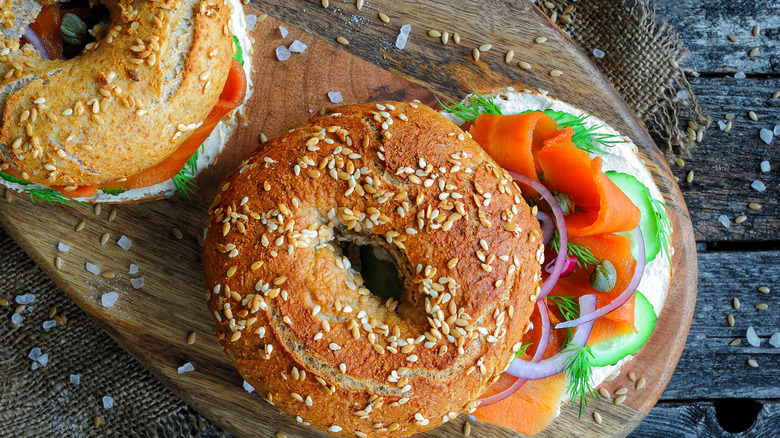 Carrot lox on a seeded bagel