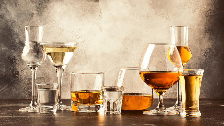 Various alcoholic beverages in different glasses
