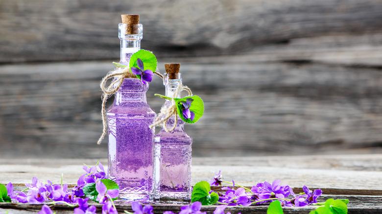 violet syrup in jars