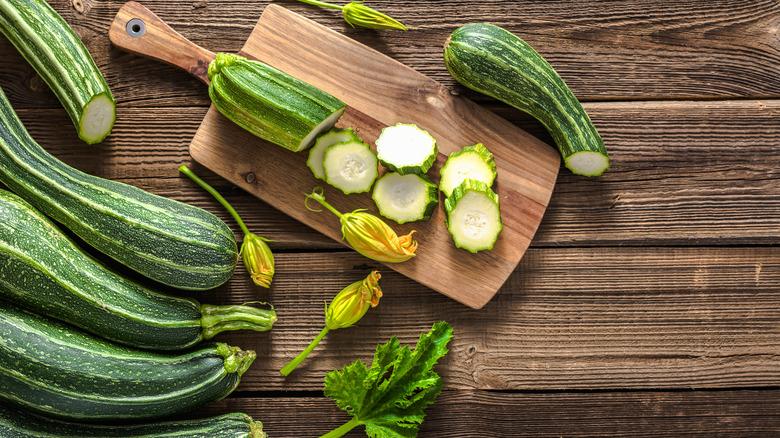 Zucchinis on cutting board