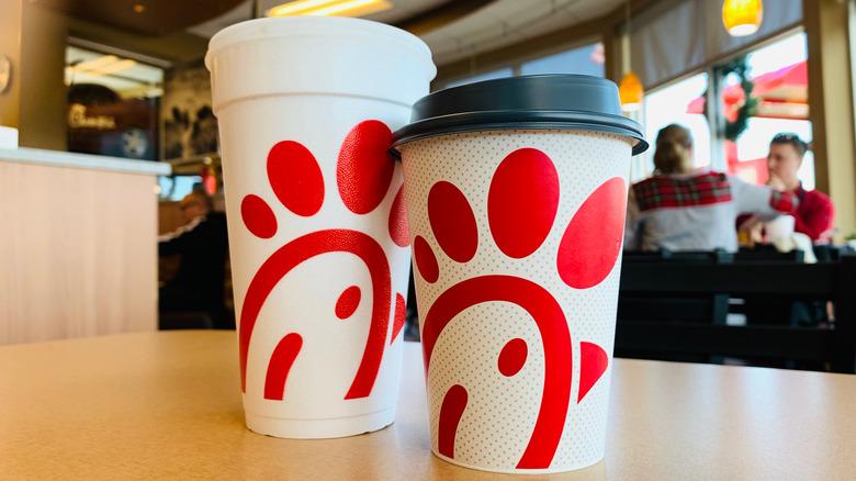 Chick-fil-A cups in restaurant