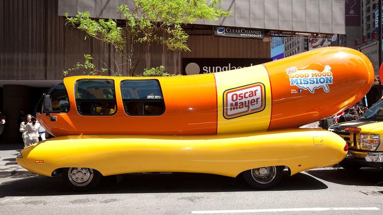 Wienermobile parked outside