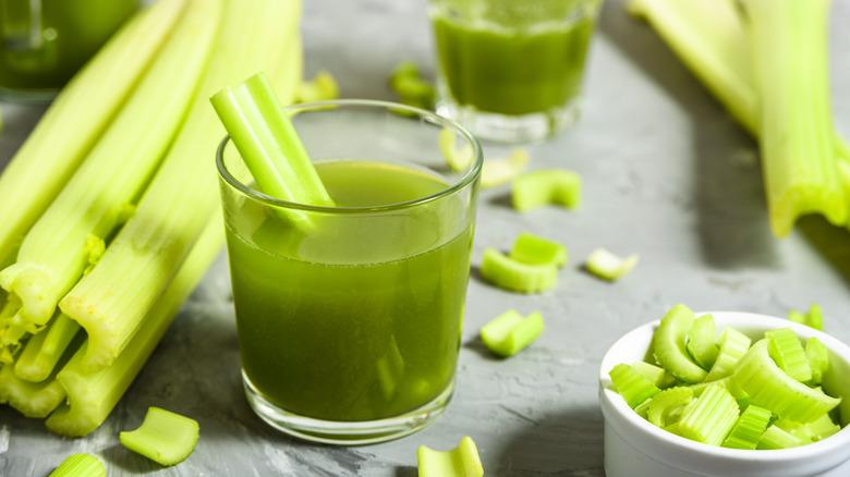 Celery juice in cup