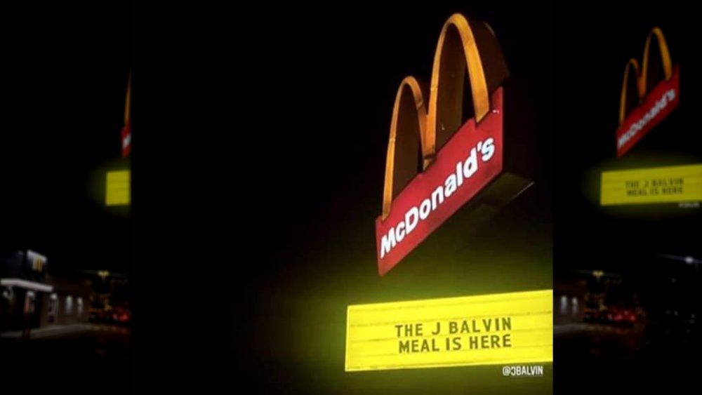 J Balvin meal sign at McDonald's