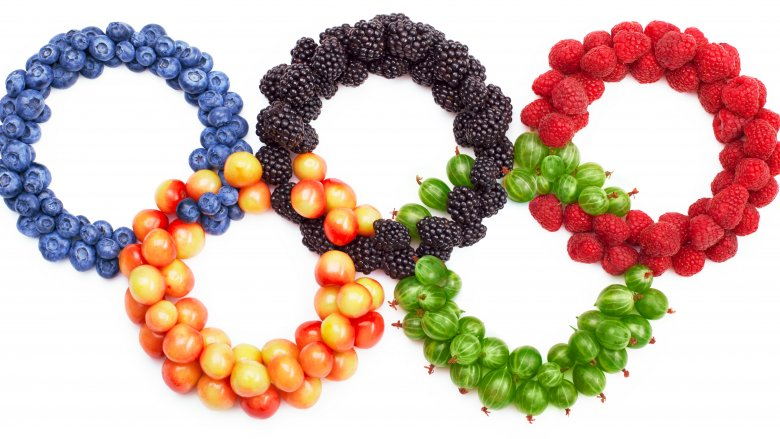 olympic rings made of fruit