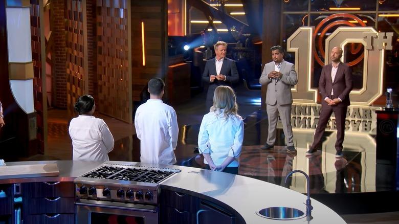 Judges and contestants on Masterchef