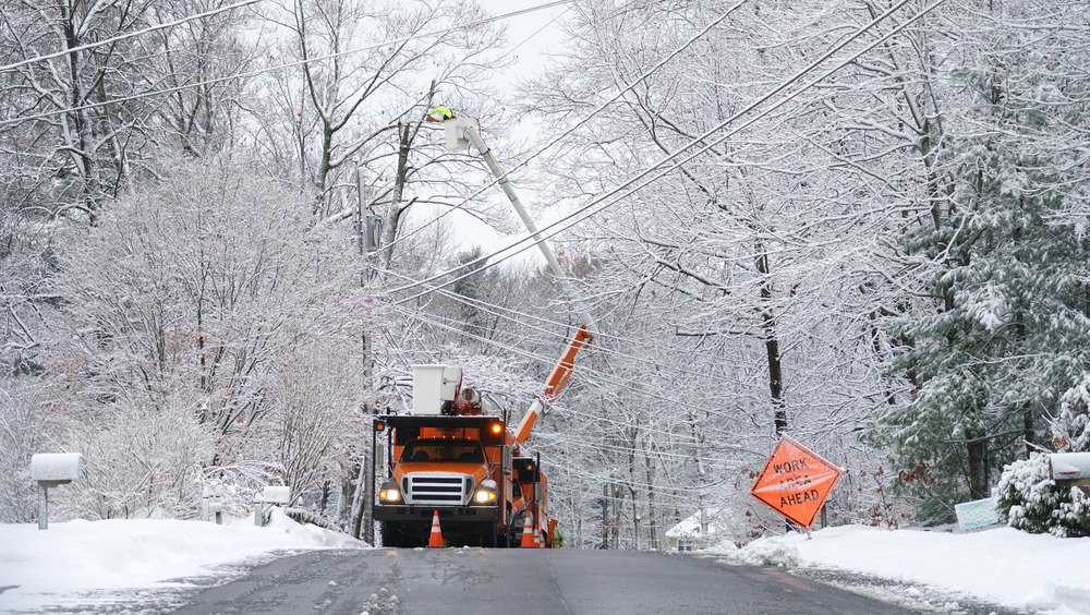 Truck working to fix a power outage