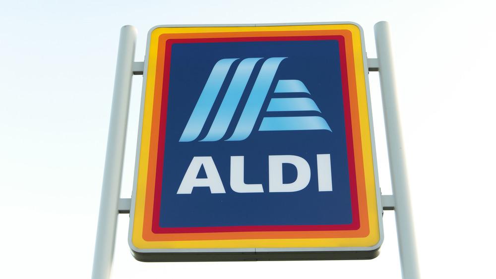 Aldi sign in a store window