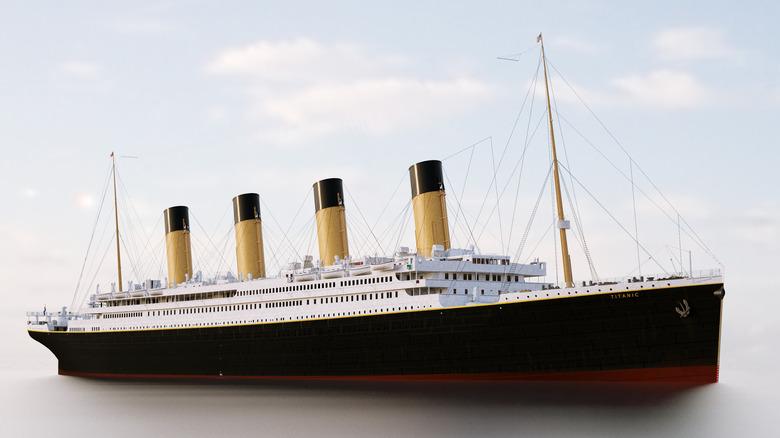 Rendering of Titanic on the sea