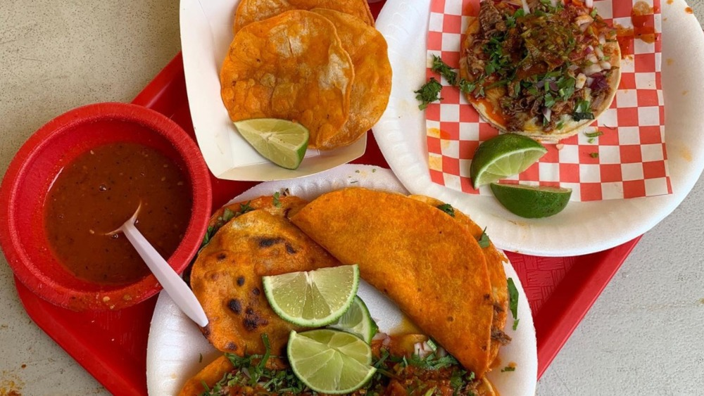 Birria taco spread with tray
