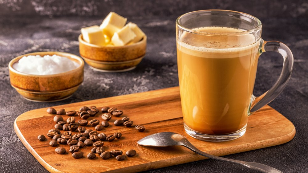 Bulletproof coffee with mct oil and grass-fed butter