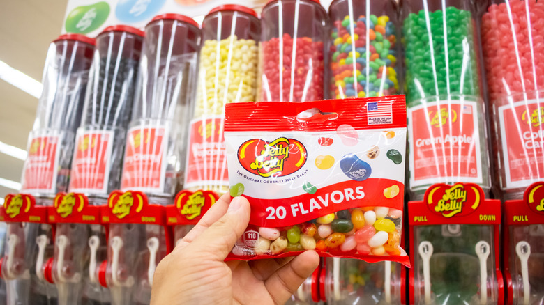 Hand holding package of Jelly Belly jelly beans