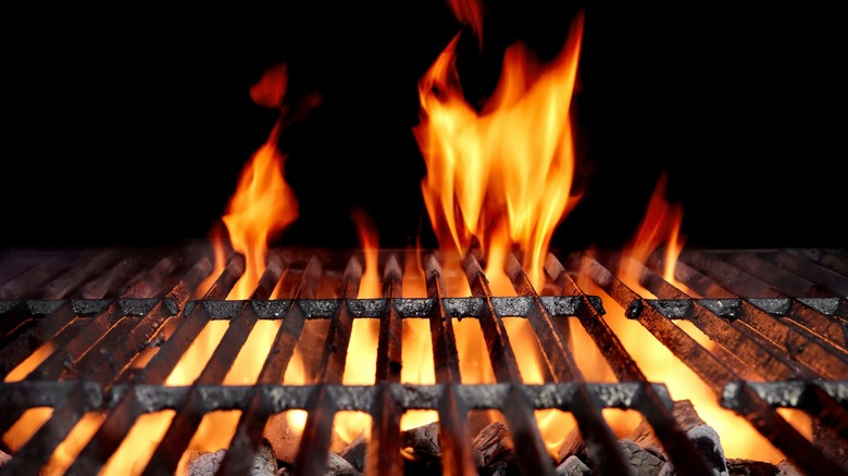 A flaming grill.