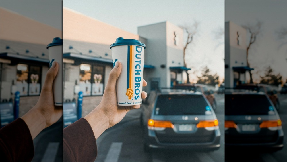 Dutch Bros drive-thru and to-go cup