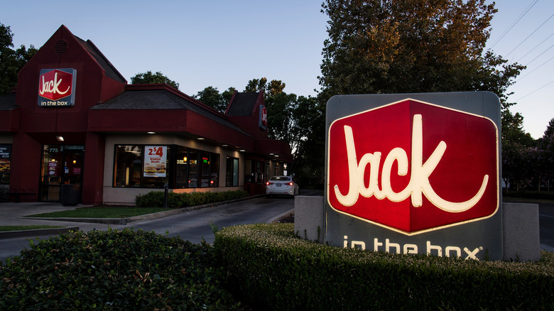 Jack in the Box restaurant at dusk