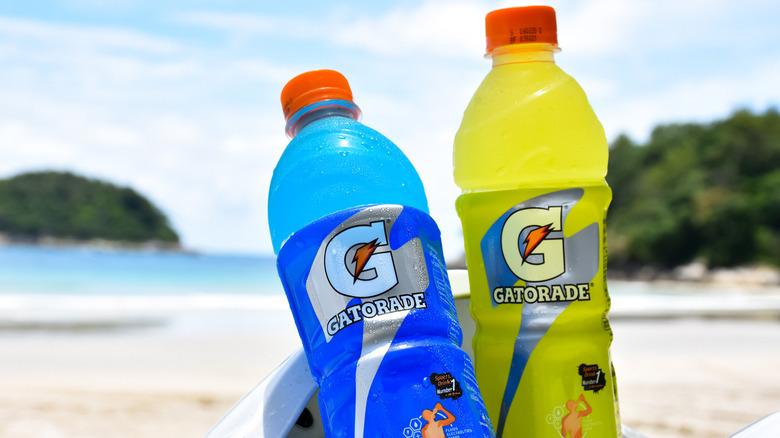 Gatorade bottles in the sand