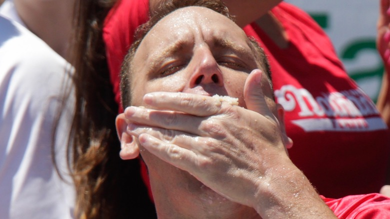 Joey Chestnut in a hot dog eating competition