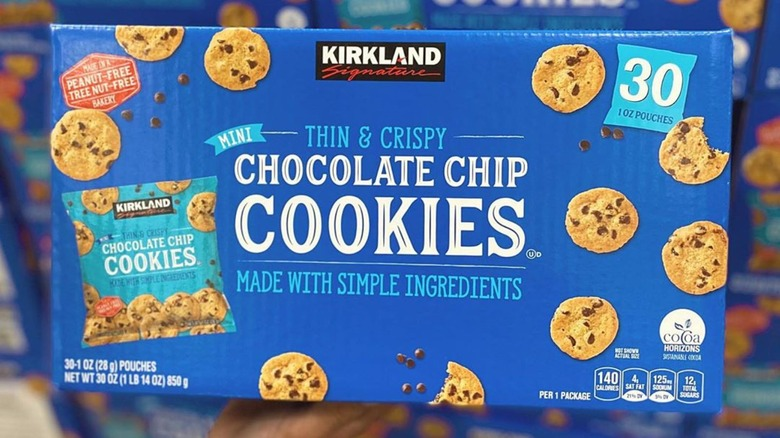A box of the new Kirkland Signature Mini Thin & Crispy Chocolate Chip Cookies from Costco