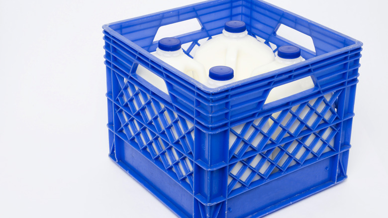 A full milk crate container