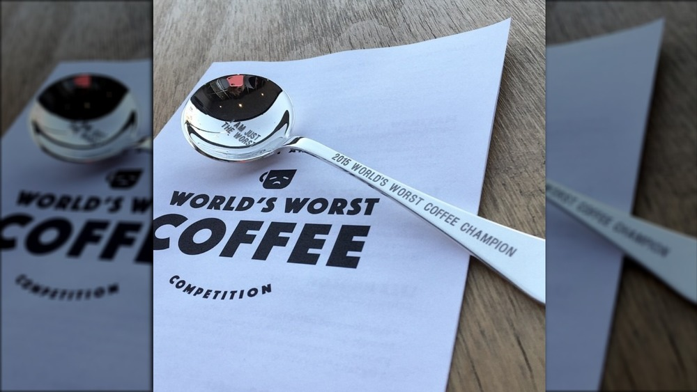 World's Worst Coffee Competition program and spoon