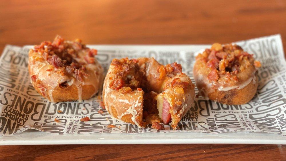Three of Smokey Bones bacon filled donuts