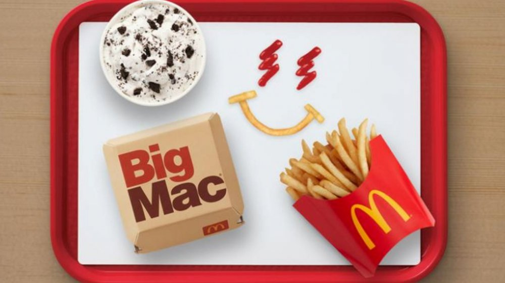 J Balvin McDonald's meal on red tray, featuring a Big Mac, Oreo McFlurry, and French fries