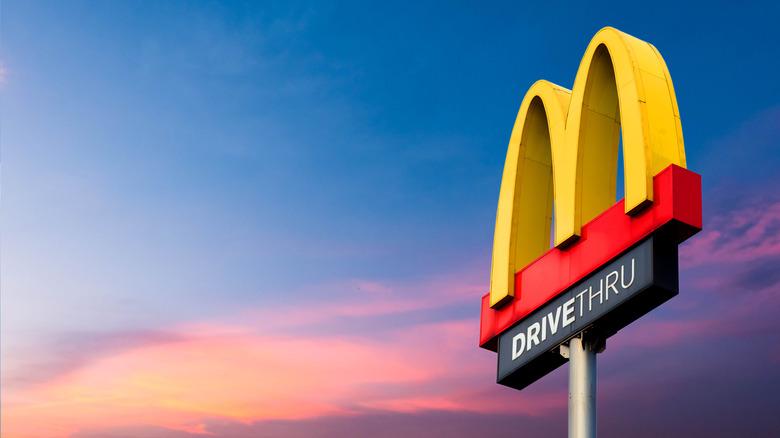 McDonald's dirve-thru at sunset