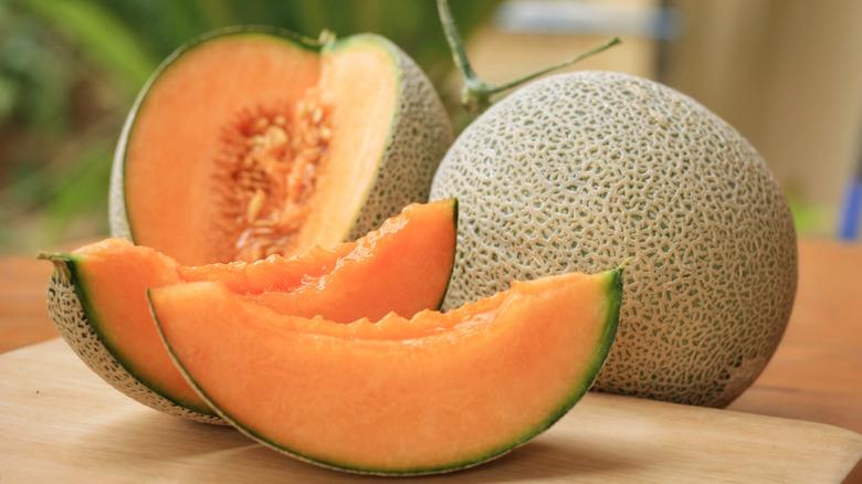 Sliced cantaloupe melon