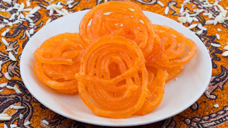 A plate of orange jalebis