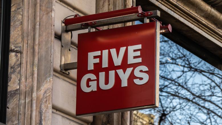 Five Guys restaurant sign
