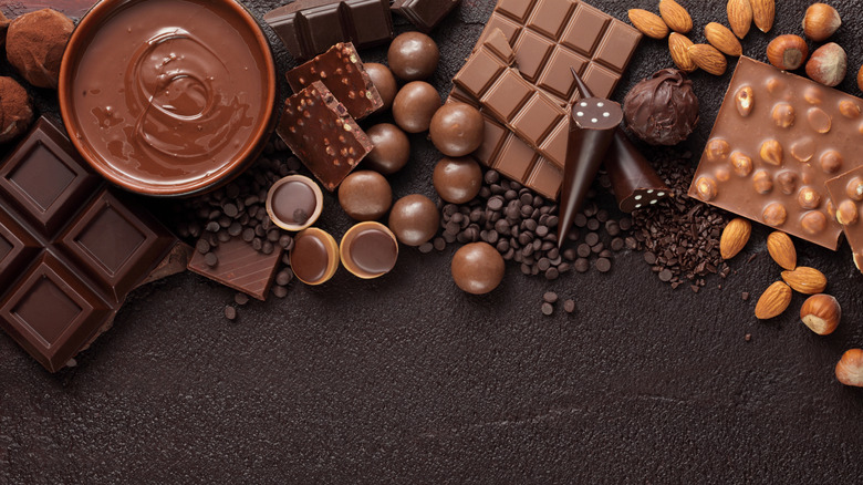 Assorted melted and solid chocolates