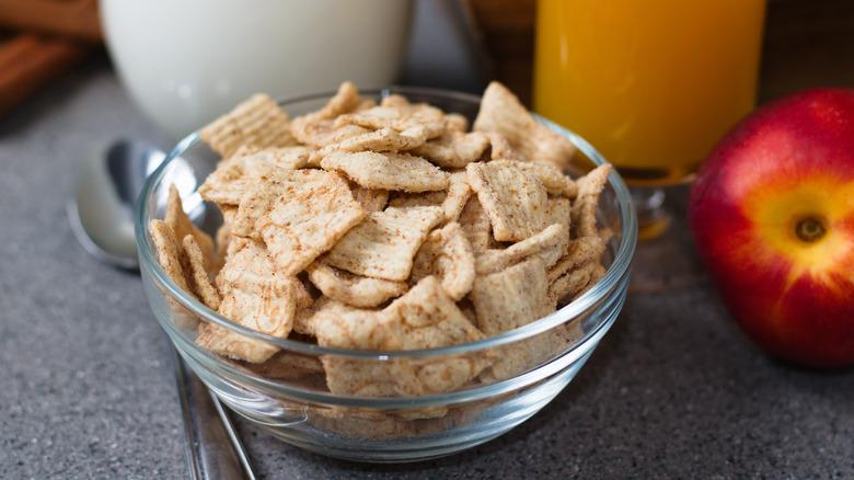 bowl of cinnamon square cereal