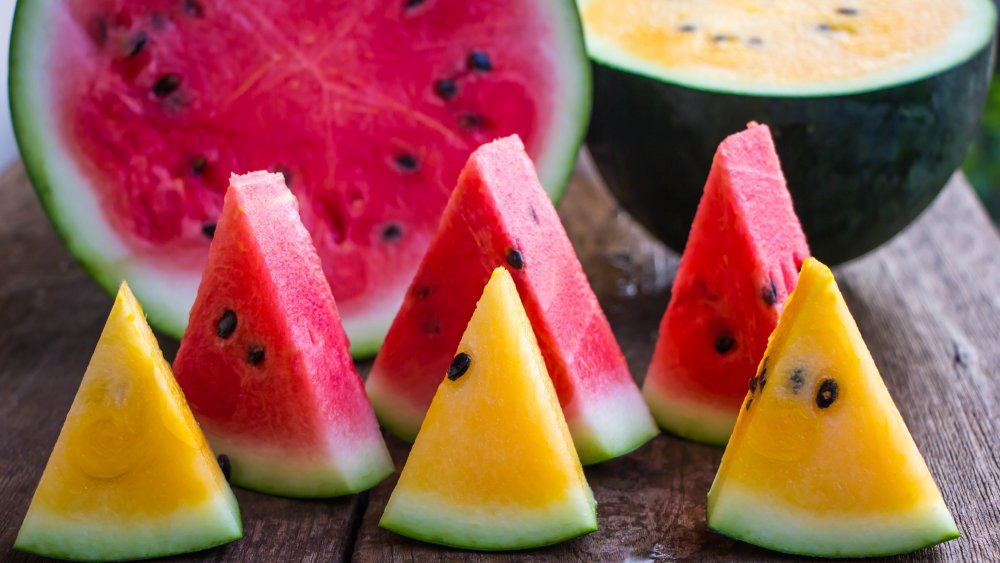 Red and yellow watermelons