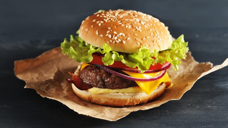 Hamburger on a wrapper