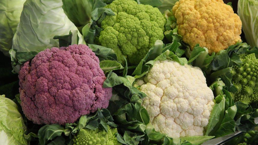 Four colors of cauliflower