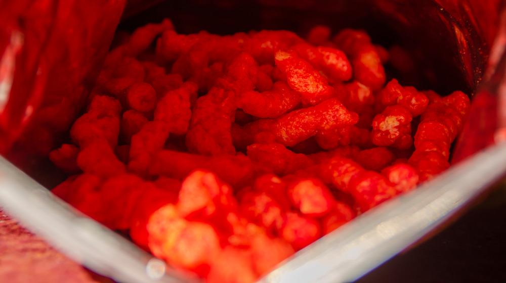 Flamin' hot cheetos in bag
