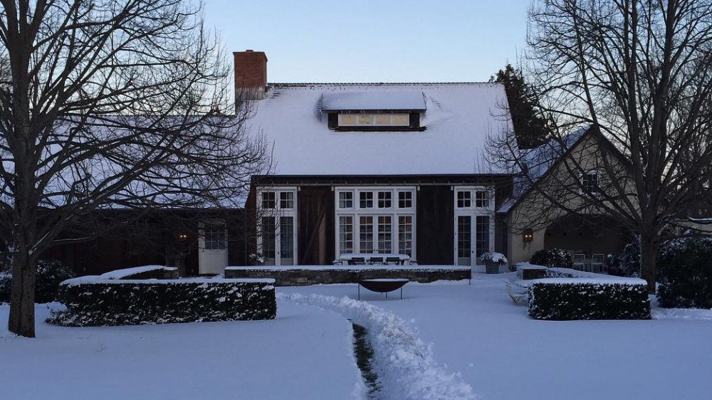 The rear of Ina Garten's house in the snow