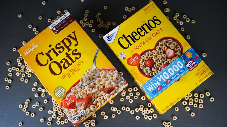 yellow boxes of cheerios and crispy oats cereal from aldi