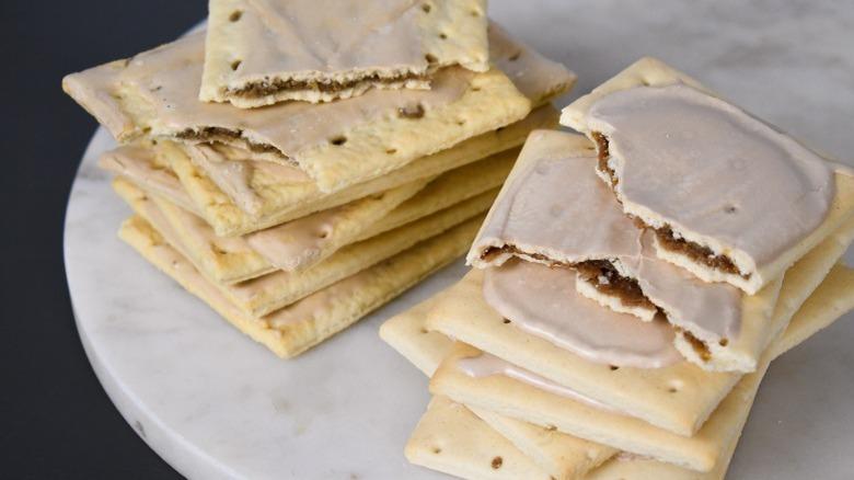 stacks of pop tarts and toaster tarts from aldi brown sugar cinnamon