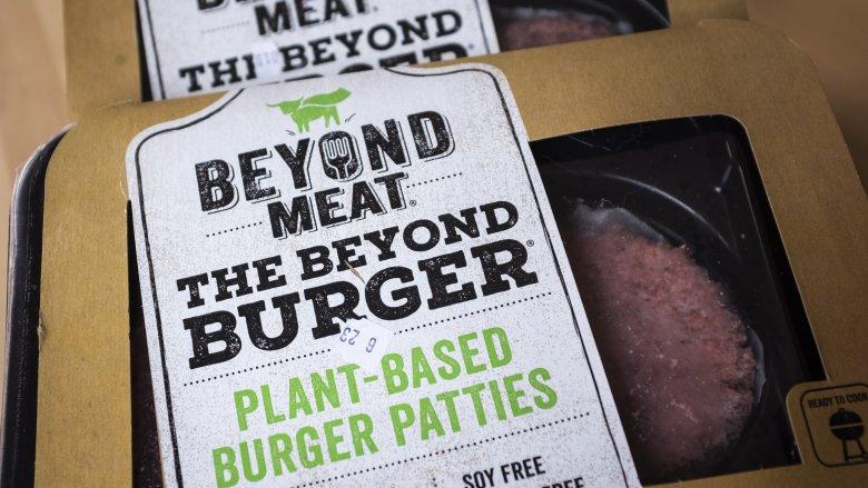Packages of Beyond Meat patties