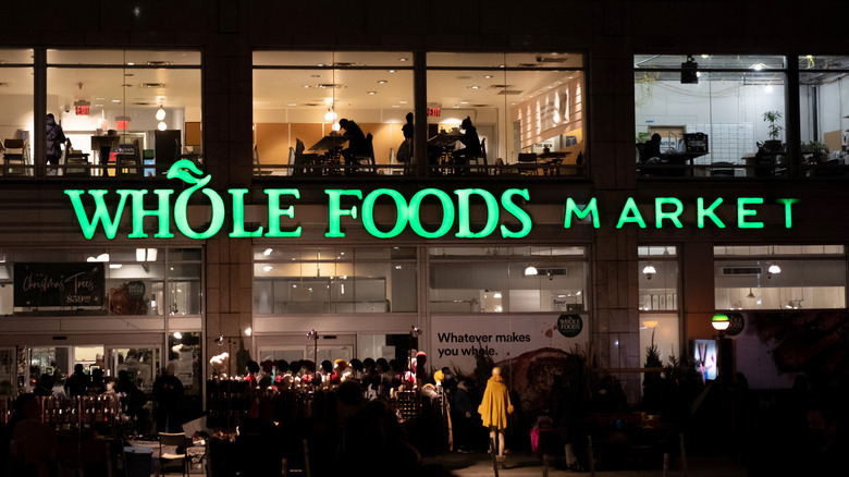 Whole Foods building at night