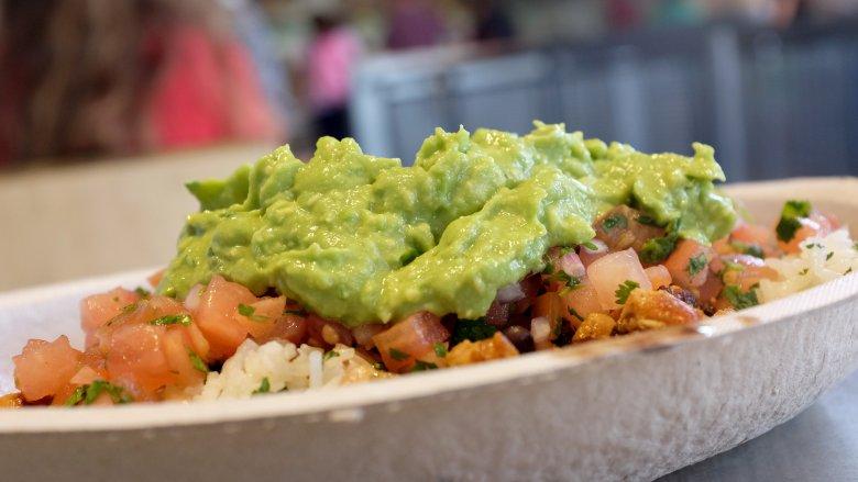 guacamole on burrito bowl