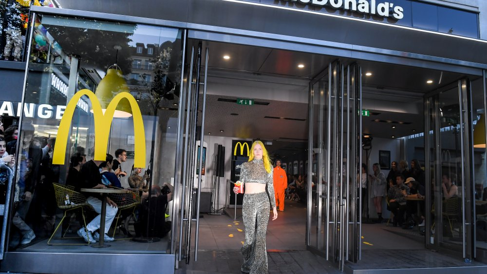 Fashion show at the Champs-Elysees McDonald's in Paris
