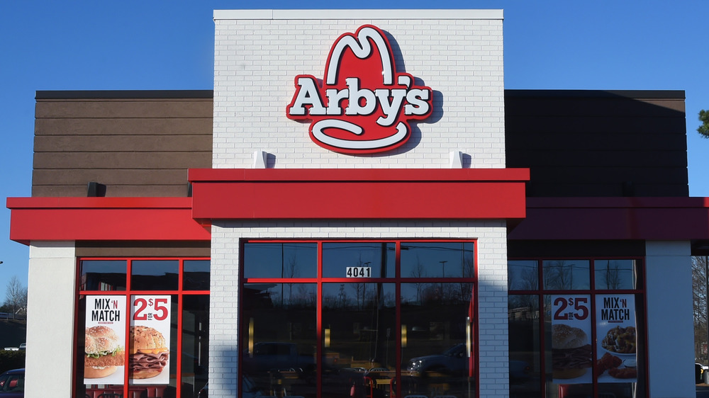 Outside of an Arby's