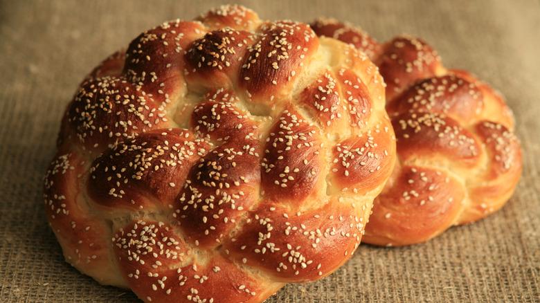 Homemade round challah