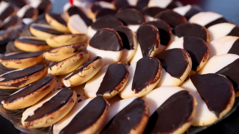 Platter of black and white cookies