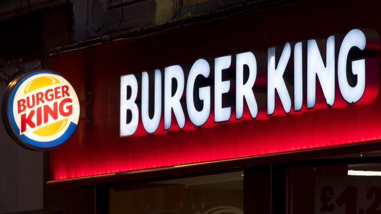 Illuminated Burger King signage