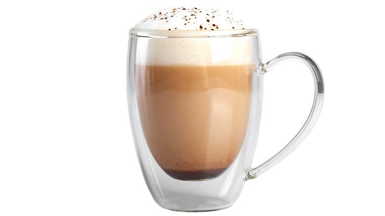 Cappuccino in a glass mug