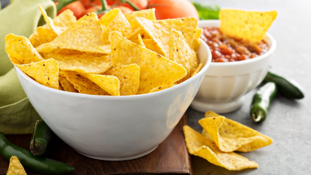 Fresh tortilla chips with salsa
