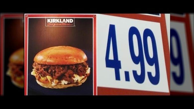 Costco brisket sandwich and price on menu board